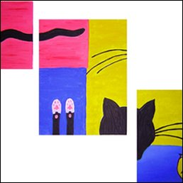 Katzen-Triptychon (Acryl, 2005)